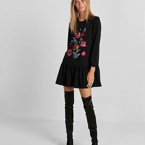 Express NEW Floral Embroidered Shift Drop waist